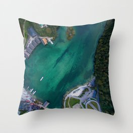 königssee waterfall alps bayern forrest drone aerial shot nature boat mountains panorama vertical Throw Pillow