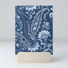 Blue indigo paisley Mini Art Print
