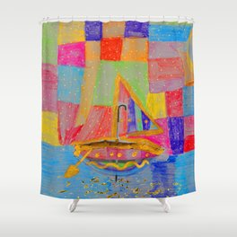 When an umbrella transforms into a boat on Christmas night Shower Curtain