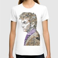 david tennant T-shirts featuring David Tennant Dr. Who Text portrait by Mike Clements