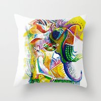 bookworm Throw Pillows featuring Bookworm by CrismanArt