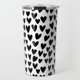 Linocut printmaking hearts pattern minimalist black and white heart gifts Travel Mug