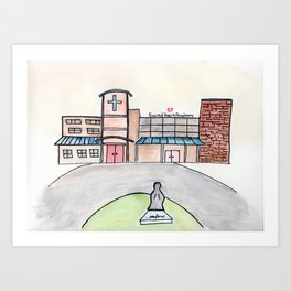 SHA Watercolor, Sacred Heart Academy, Louisville, KY Art Print