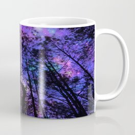 Black Trees Purple Fuchsia Blue space Coffee Mug