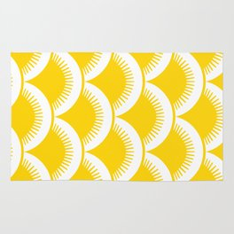 Japanese Fan Pattern Yellow Rug