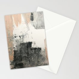 Peace and Quiet [1]: a pretty, minimal abstract piece in gray and peach by Alyssa Hamilton Art Stationery Cards
