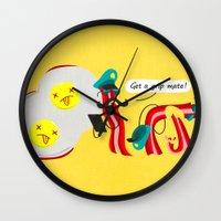 bacon Wall Clocks featuring Bacon by Bakal Evgeny