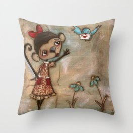 I Feel the Same  -  A Monkey, A Blue bird, and Love Throw Pillow