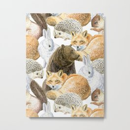 woodland animals pattern Metal Print