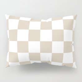 Brown, Beige: Checkered Pattern Pillow Sham