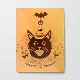 Orange Halloween Party Cat Metal Print