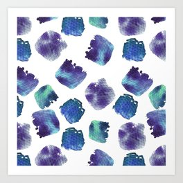 Beautiful watercolor seamless background. Abstract shapes. Art Print