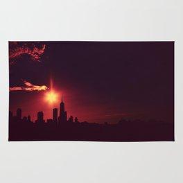 Skyline silhouette of Chicago Rug