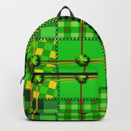 Green/Black Irish Patchwork Style St. Patrick's Day Themed Celtic Quilt Cultural Checkered Clovers Backpack