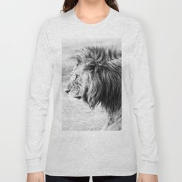 Black and White Lion Long Sleeve T-shirt