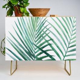 Emerald Palm Fronds Watercolor Credenza
