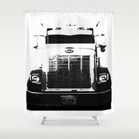 truck Shower Curtains featuring Peterbilt Truck by MJMarshall Design