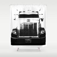 truck Shower Curtains featuring Peterbilt Truck by MJMarshall Design