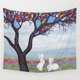 bunnies and the stained glass tree Wall Tapestry
