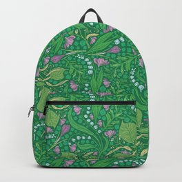 Lilies of the valley and crocuses on green background Backpack