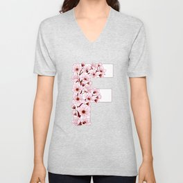 Colorful capital letter F patterned with sakura twig Unisex V-Neck