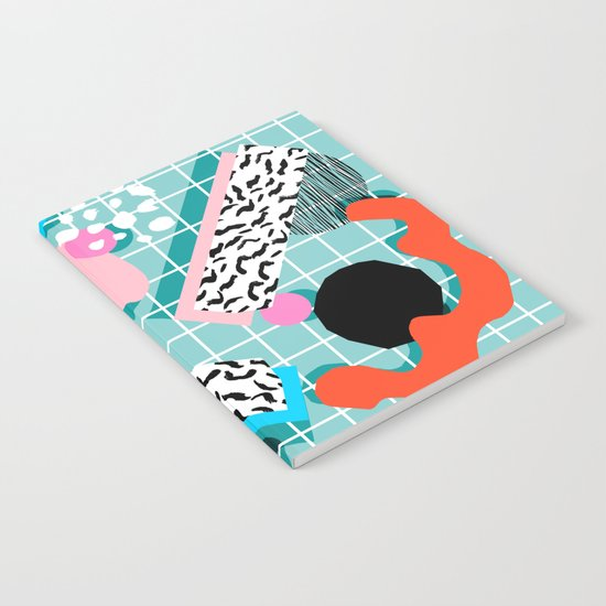 The 411 - wacka abstract memphis grid throwback retro cool neon 80s style minimal mixed media Notebook