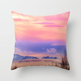 Alaskan Winter Fog Digital Painting Throw Pillow