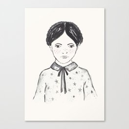 A little girl and the stars Canvas Print