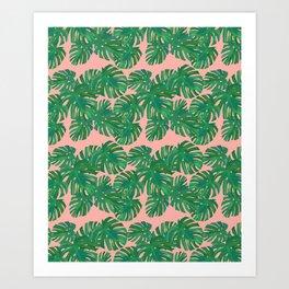 Monstera Stripe on Pink Art Print