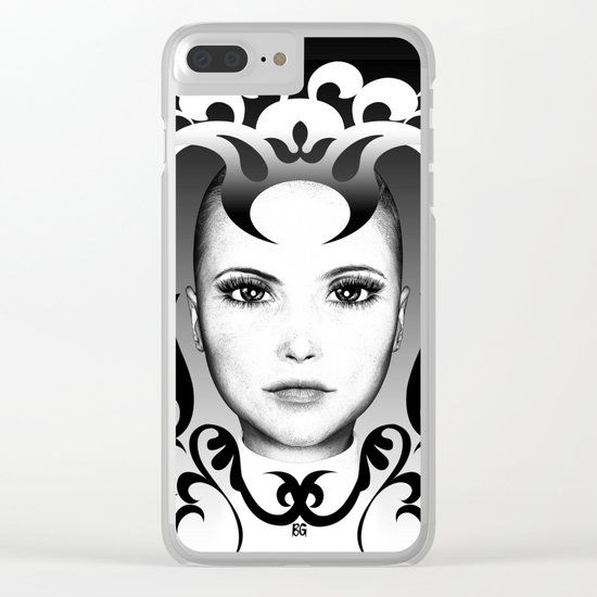 Black and white ornamental face Clear iPhone Case