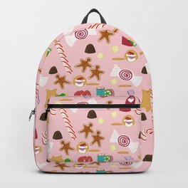 Christmas Sweeties Candies, Peppermints, Candy Canes and Chocolates on Pink Backpack