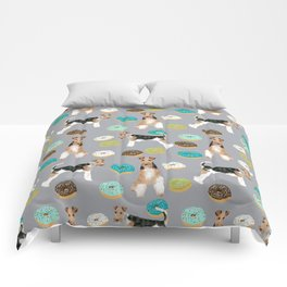 Wire Fox Terrier donuts dog pattern dog lover gifts for dog person dog breeds pet friendly Comforters