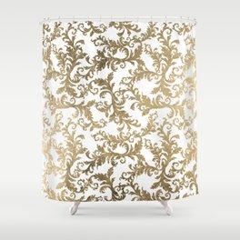 Vintage faux gold elegant floral damask Shower Curtain