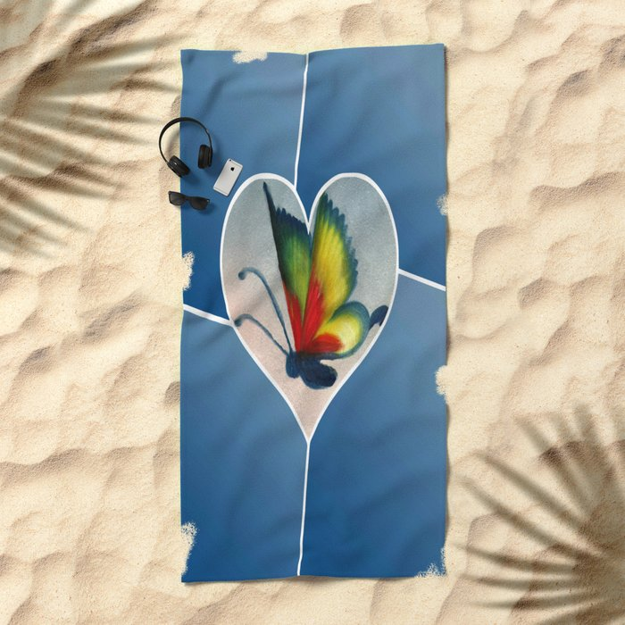 Butterfly Love - Blue Beach Towel