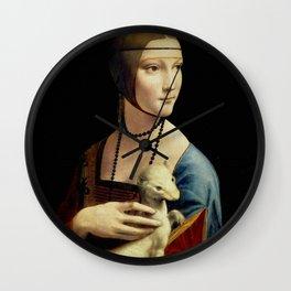 """Leonardo Da Vinci """"Portrait of Cecilia Gallerani (Lady with the Ermine)"""" Wall Clock"""