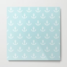 Anchor Love Hope Blue White Metal Print