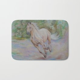 Palomino horse galloping Pastel drawing Horse portrait Equestrian decor Bath Mat