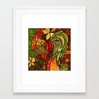rooster Framed Art Prints featuring Rooster by Cat Thurman