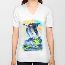 Jumpimg blue Marlin Chasing Bull Dolphins Unisex V-Neck