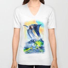 Jumping blue Marlin Chasing Bull Dolphins Unisex V-Neck