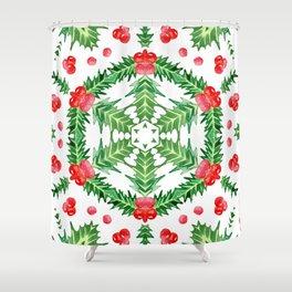 Holly Jolly Christmas Wreath Mandala (Large Pattern) Shower Curtain