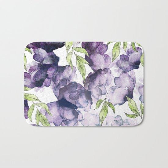Watercolor + Ink Florals #society6 #decor #buyart Bath Mat
