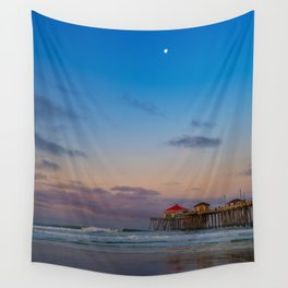Pastel Sunrise at Huntington Beach Pier Wall Tapestry