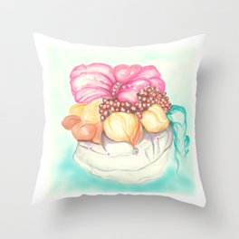 Tropical Fruit Bouquet Painting Throw Pillow