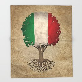 Vintage Tree of Life with Flag of Italy Throw Blanket