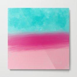 Abstract aqua pink coral colorblock watercolor Metal Print