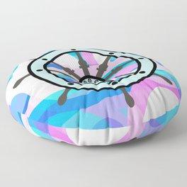 Ship's wheel on abstract marine background Floor Pillow