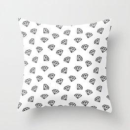 Black and white version of diamond Throw Pillow