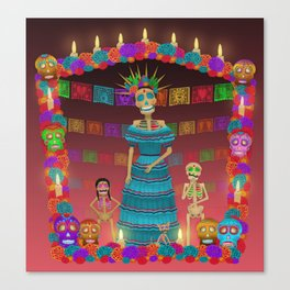 Pink Ómbre Day of the Dead Canvas Print