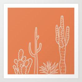 Terracotta cactus illustration white outline art Art Print